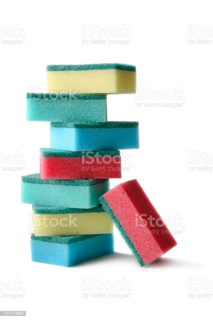 Cleaning: Sponges Isolated on White Background royalty-free stock photo