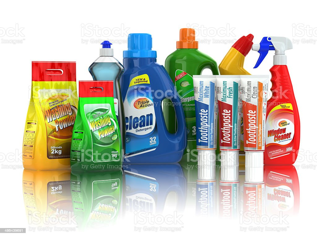 Cleaning supplies. Household chemical detergent bottles. stock photo