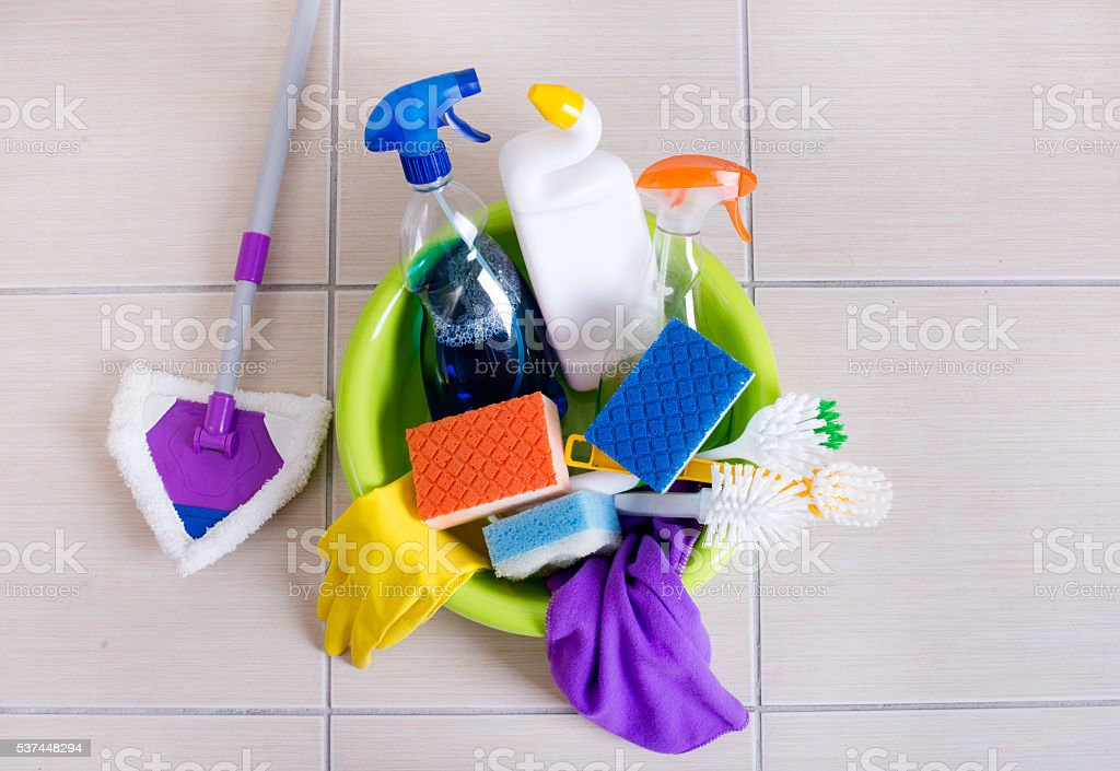Cleaning supplies on floor stock photo