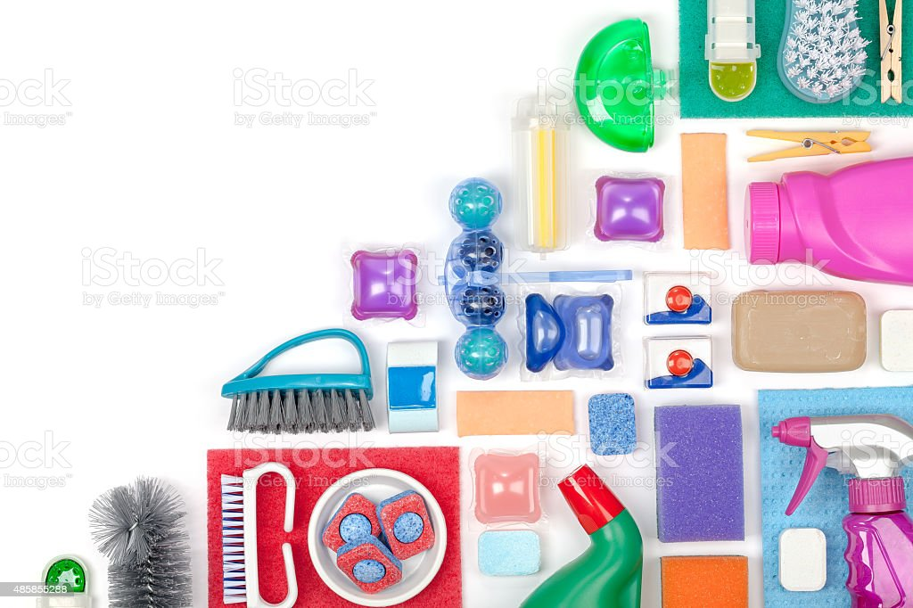 cleaning supplies on white background stock photo