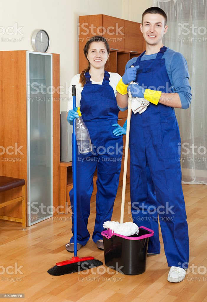 Cleaning team stock photo