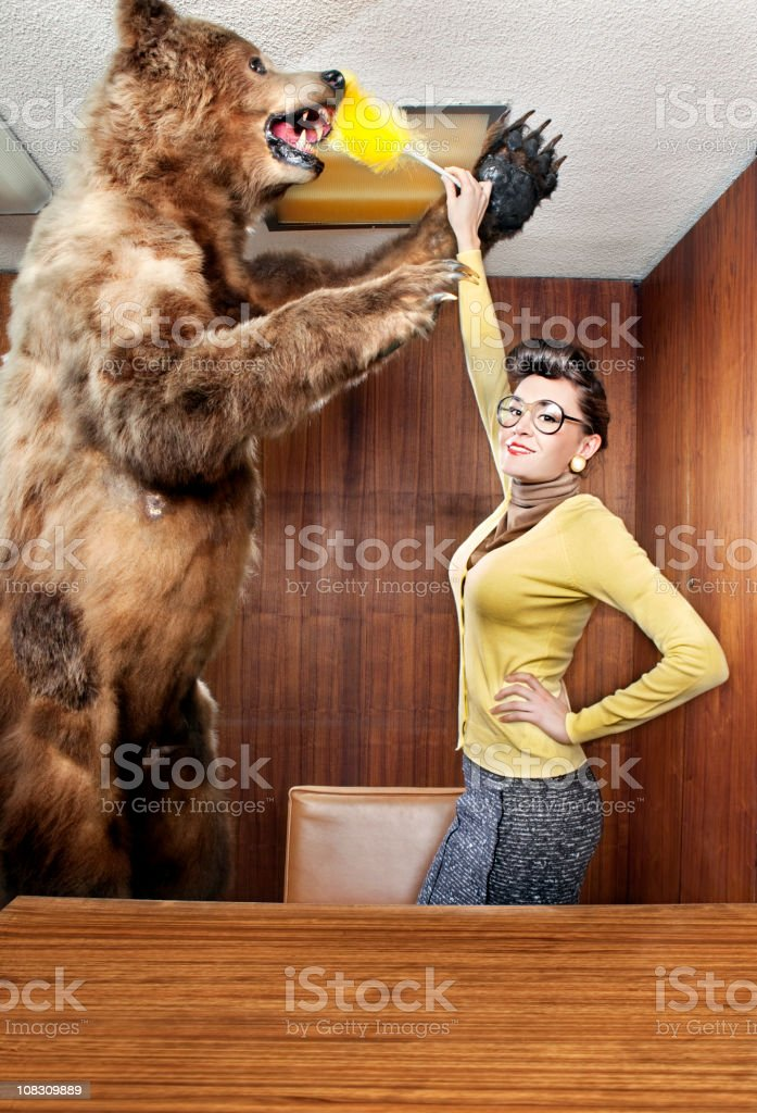 Cleaning the bear royalty-free stock photo