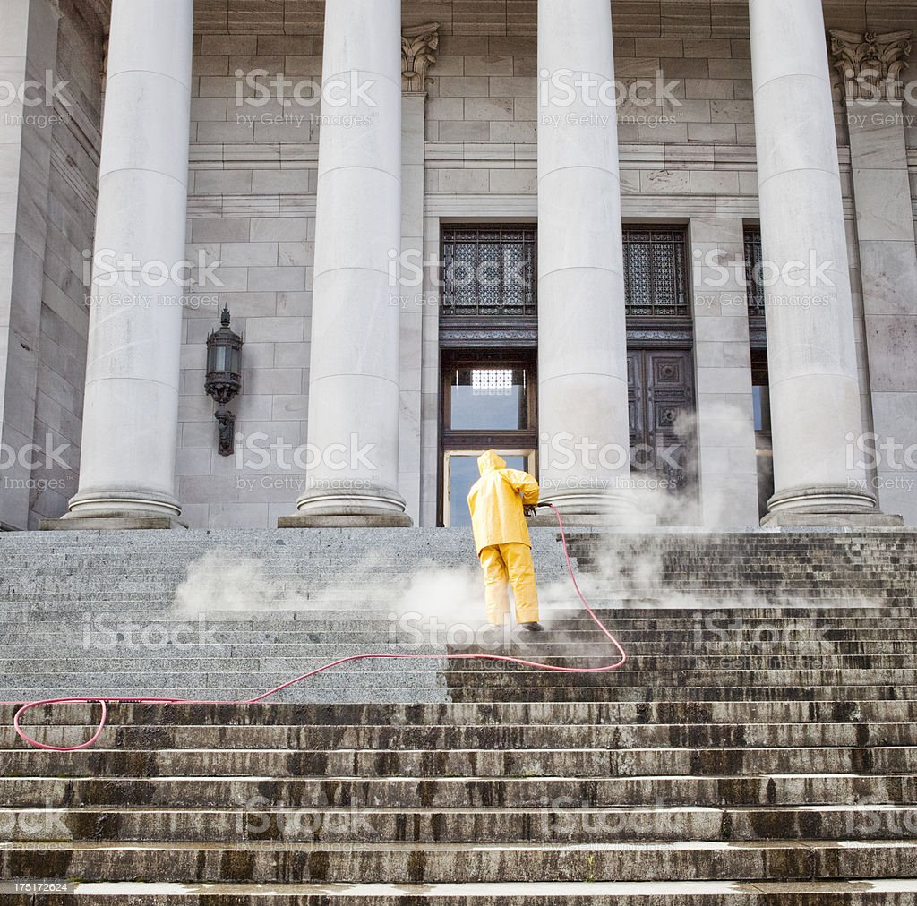Cleaning the Capitol stock photo