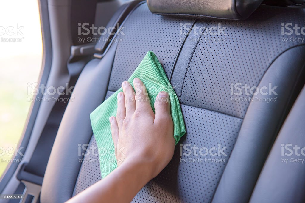 Cleaning the car interior stock photo