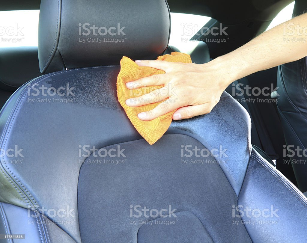 cleaning the car seat stock photo
