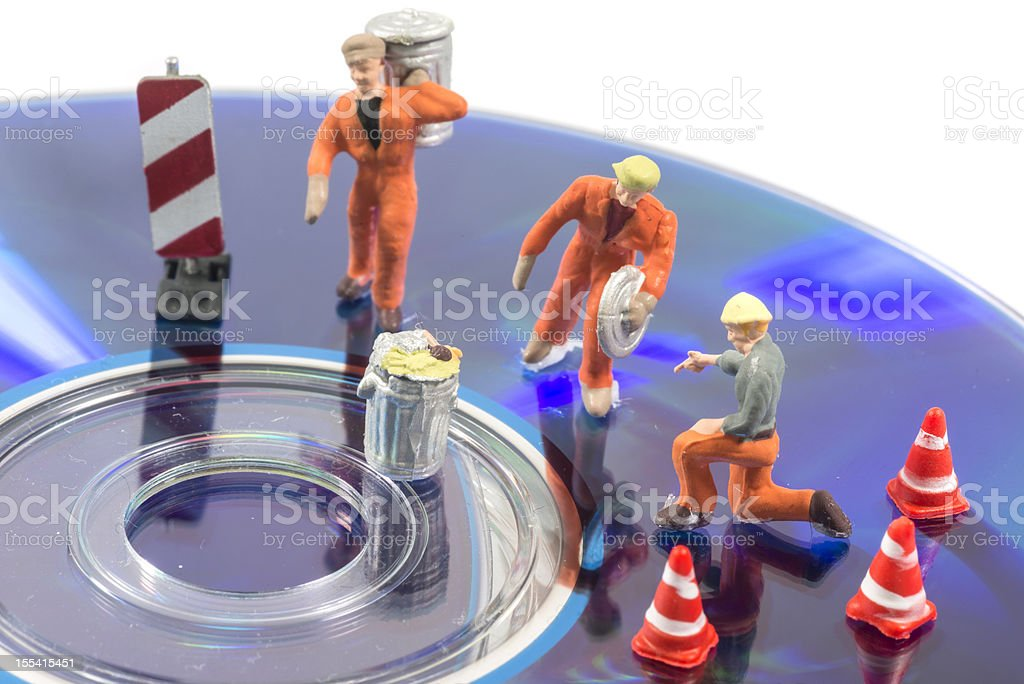cleaning the data in garbage can royalty-free stock photo