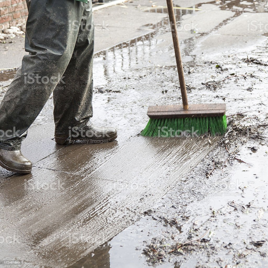 cleaning the driveway stock photo