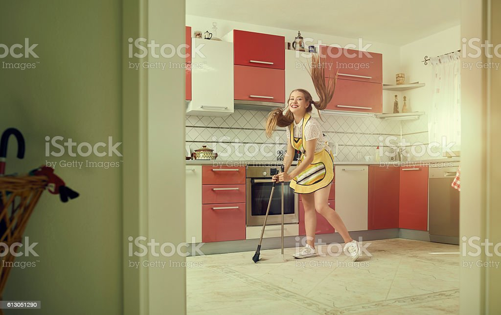 cleaning the kitchen with joy stock photo