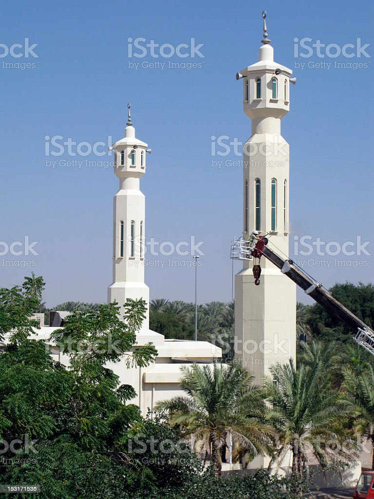 Cleaning The Minaret stock photo