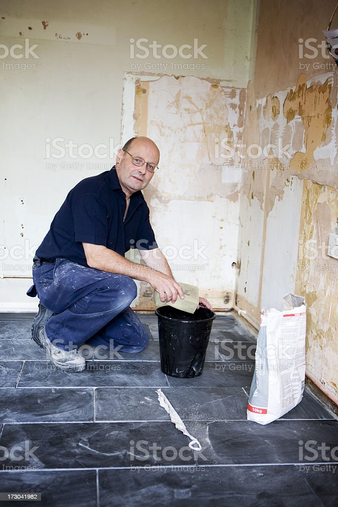 cleaning the new floor royalty-free stock photo