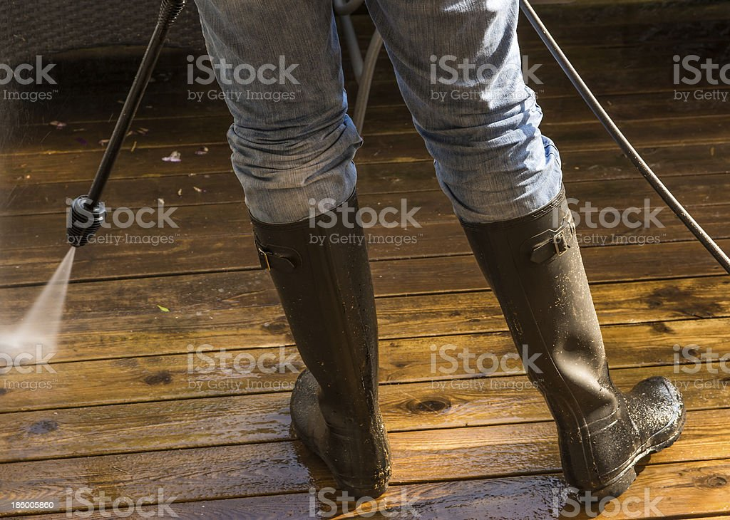 Cleaning the patio royalty-free stock photo
