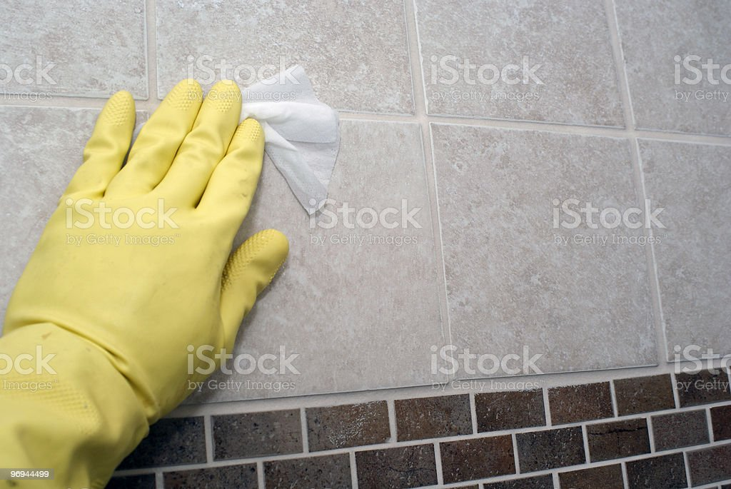 cleaning the shower royalty-free stock photo
