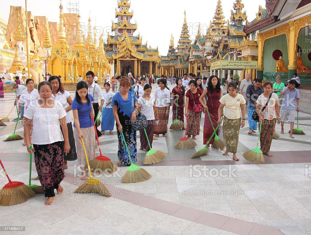 Cleaning the Shwedagon pagoda, Yangon royalty-free stock photo