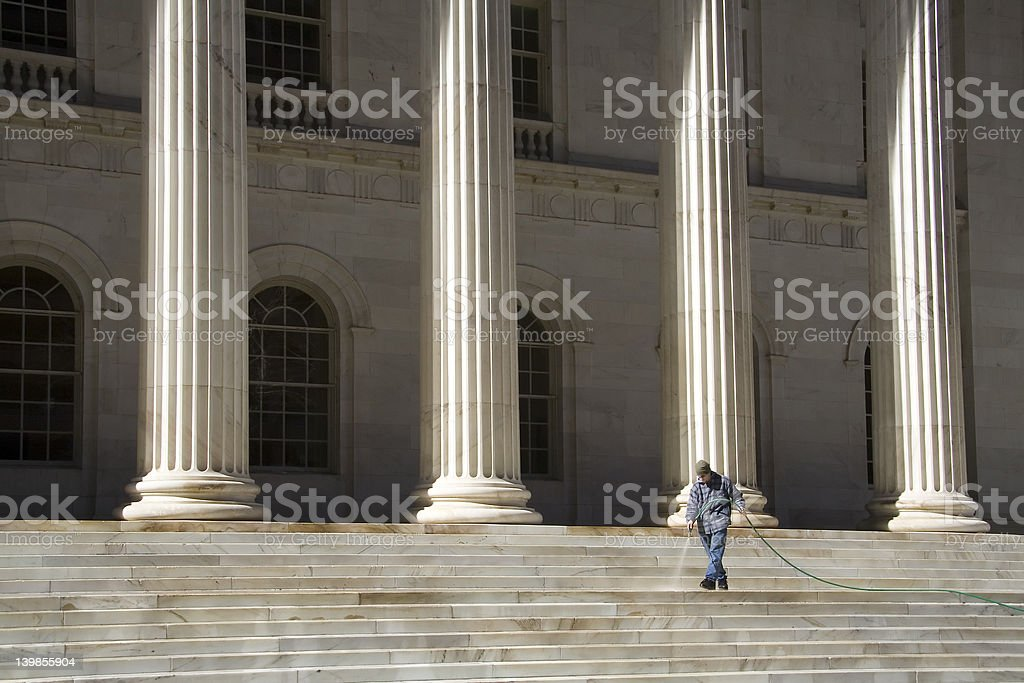 Cleaning the stairs - wide royalty-free stock photo