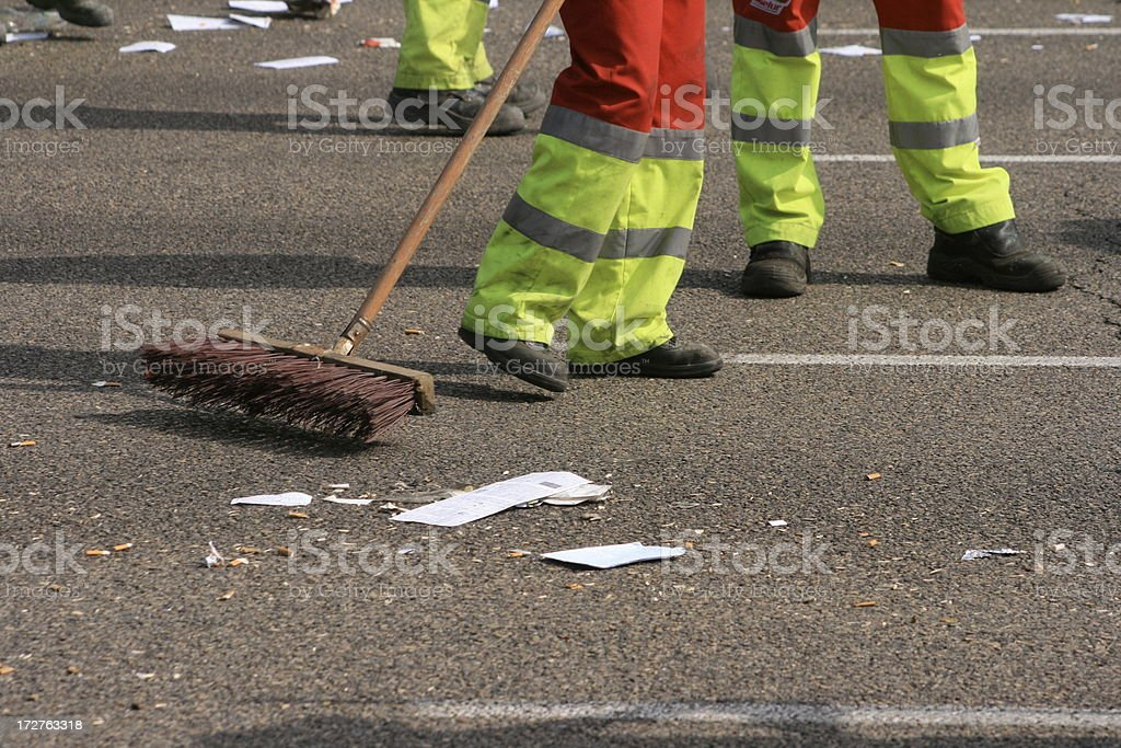 cleaning the street stock photo