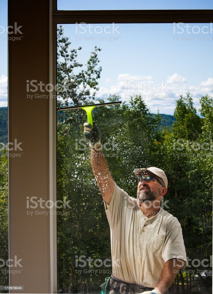 cleaning the windows royalty-free stock photo