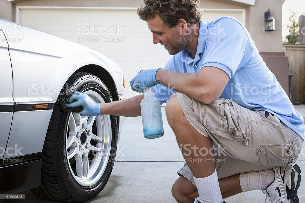 Cleaning Tires stock photo
