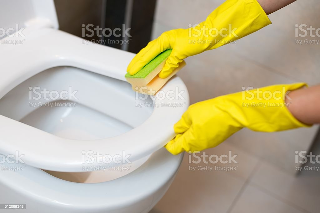 cleaning toilet seat stock photo