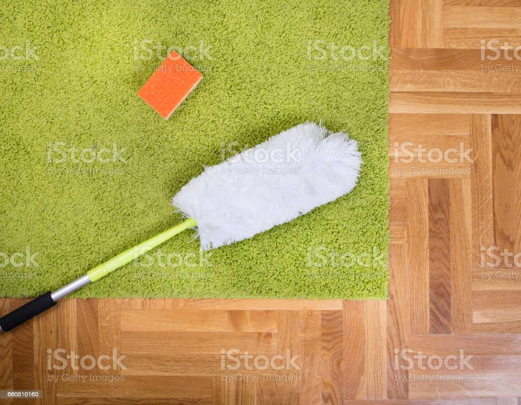 Cleaning tools on carpet stock photo