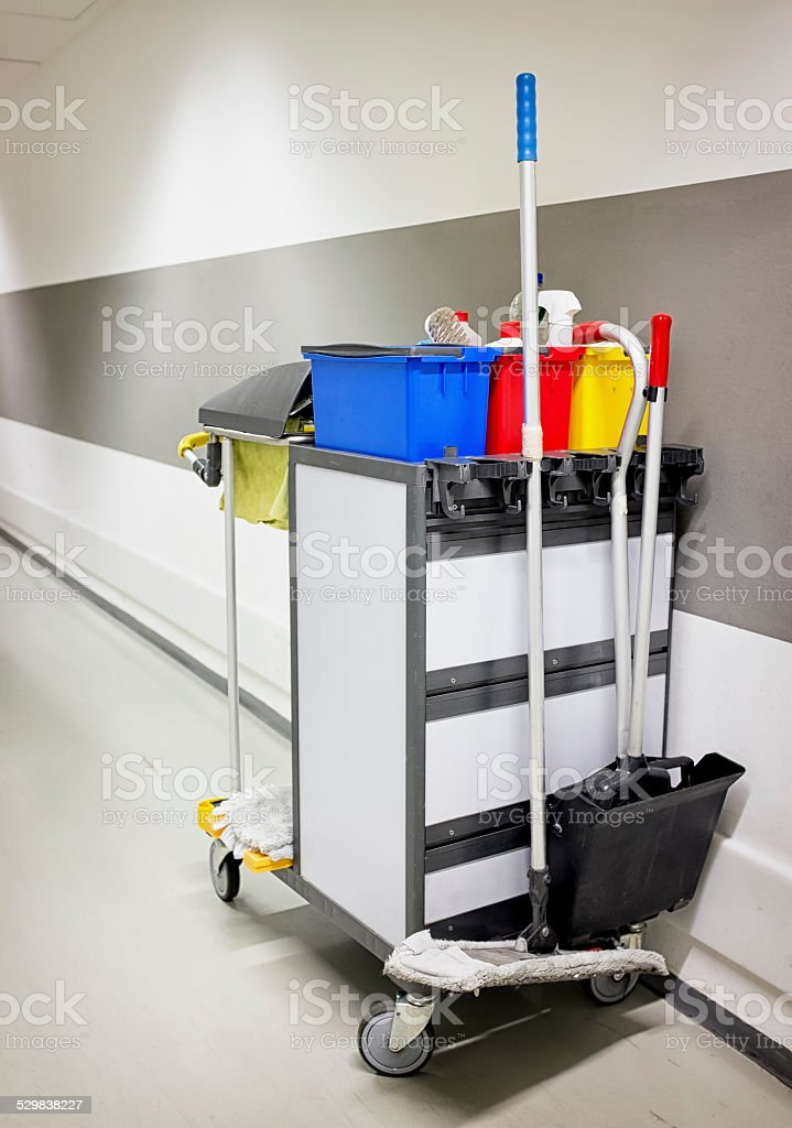 cleaning trolley - service cart stock photo