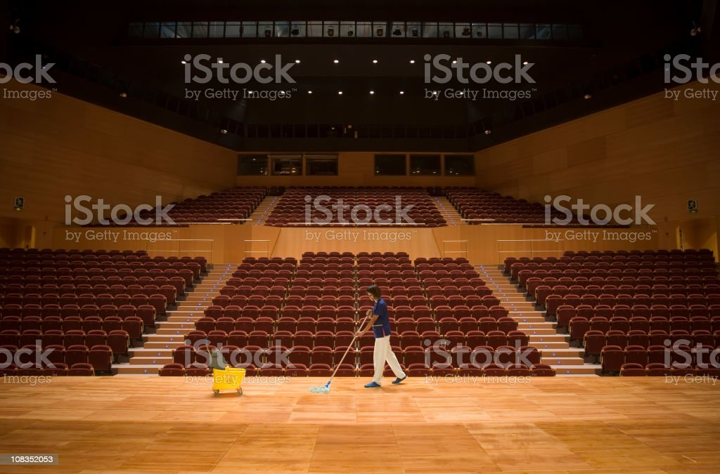 Cleaning up a theather stock photo