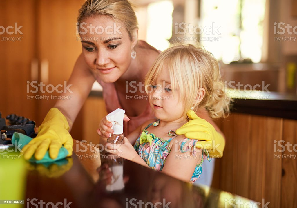 Cleaning up is everyone's responsibility stock photo