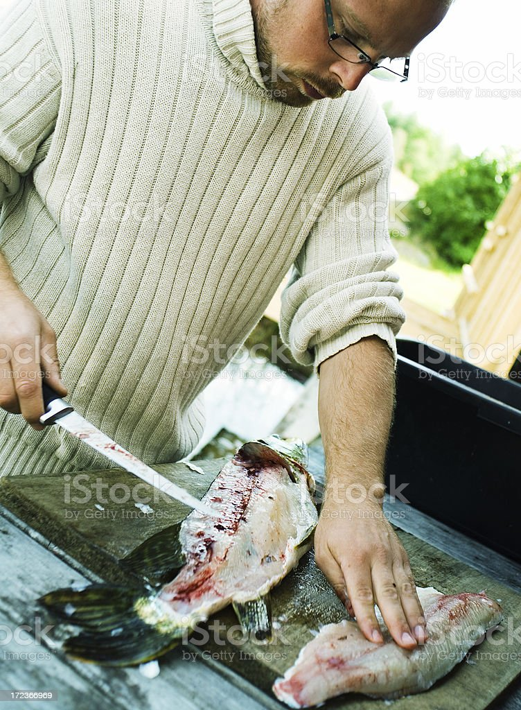 Cleaning up pike fillet stock photo