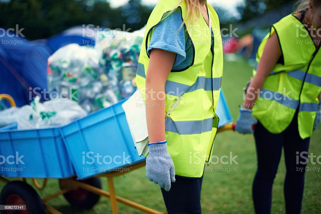 Cleaning up the aftermath of the festival stock photo