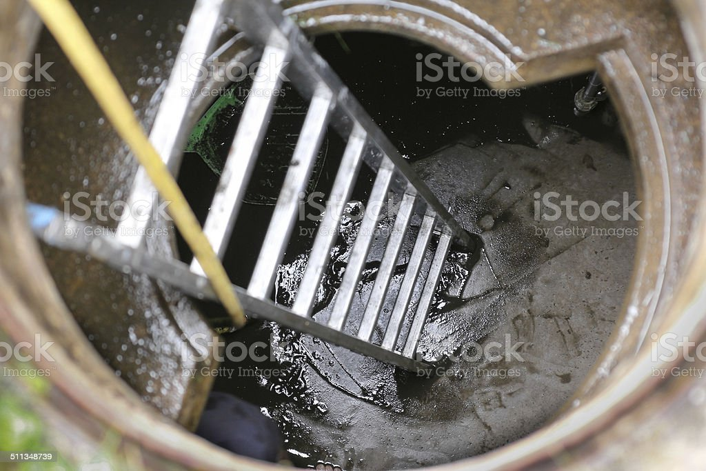 Cleaning water cistern stock photo