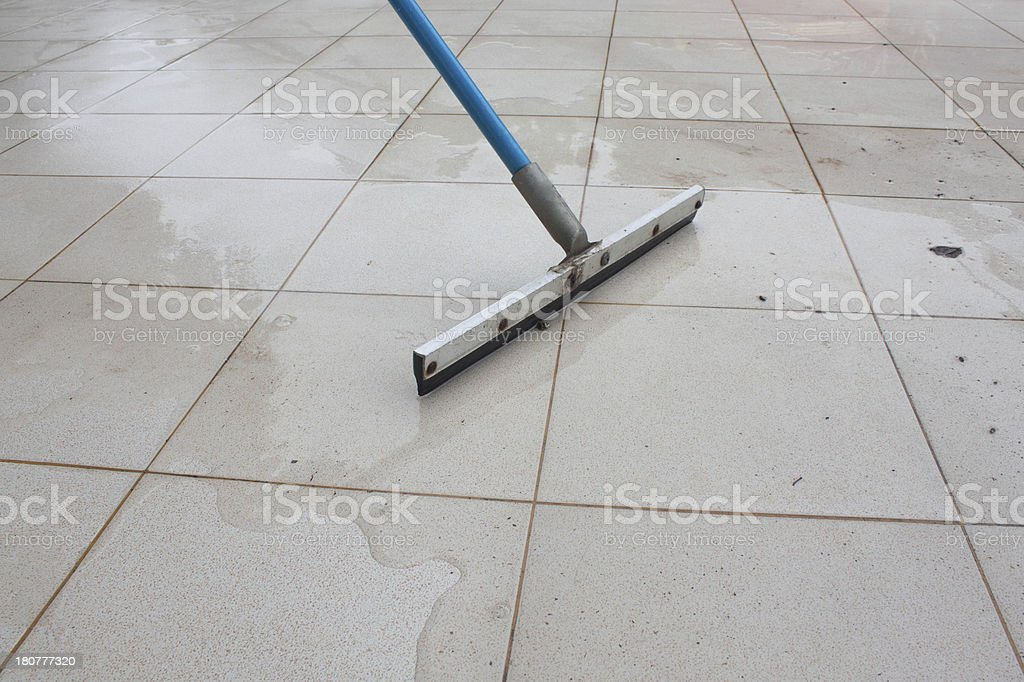 cleaning water in the floor stock photo