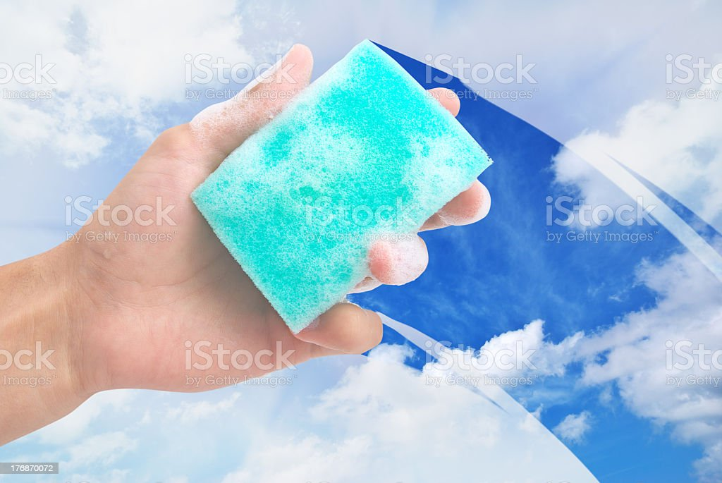 Cleaning window royalty-free stock photo