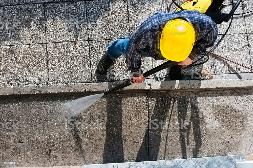 Cleaning with high pressure stock photo