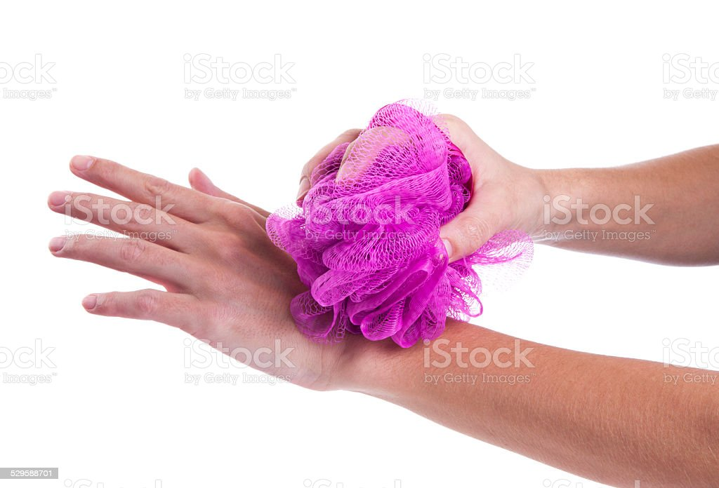 Cleaning with loofah stock photo