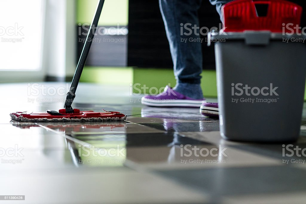 Cleaning with mop stock photo