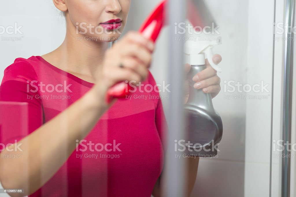 Cleaning with no damp patch stock photo