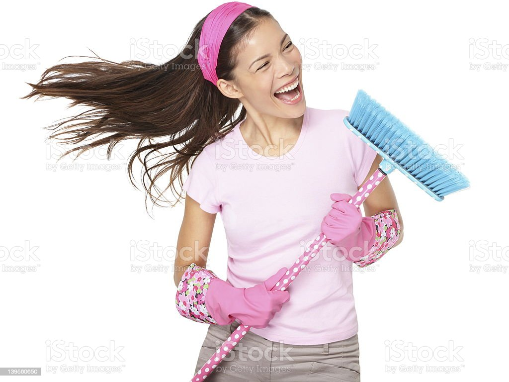 Cleaning woman singing royalty-free stock photo