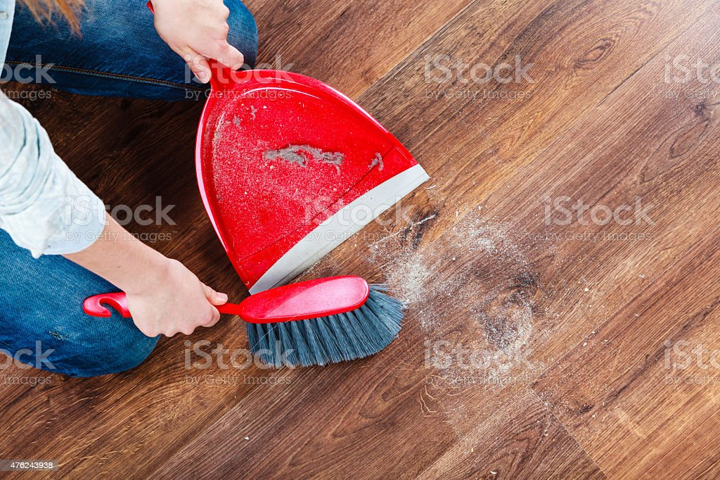 Cleaning Woman Sweeping Wooden Floor Stock Photo 476243938 Istock
