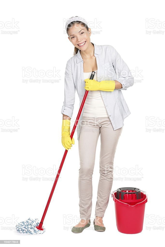 Cleaning woman washing floor mop royalty-free stock photo