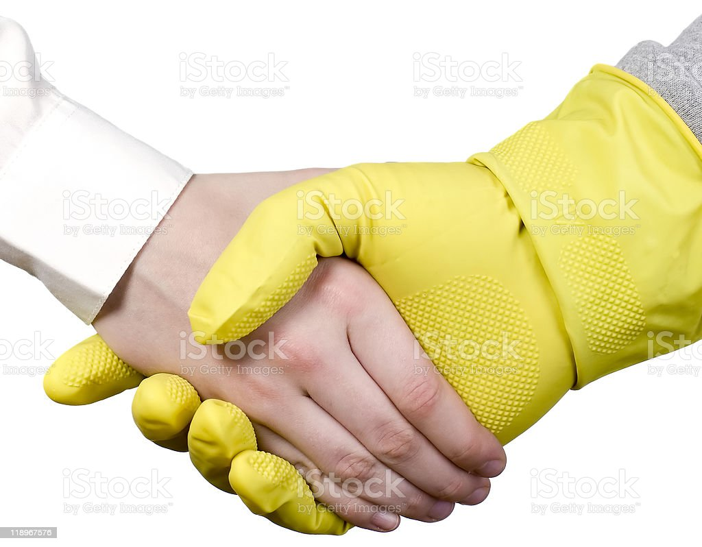Cleaning worker and businessman stock photo