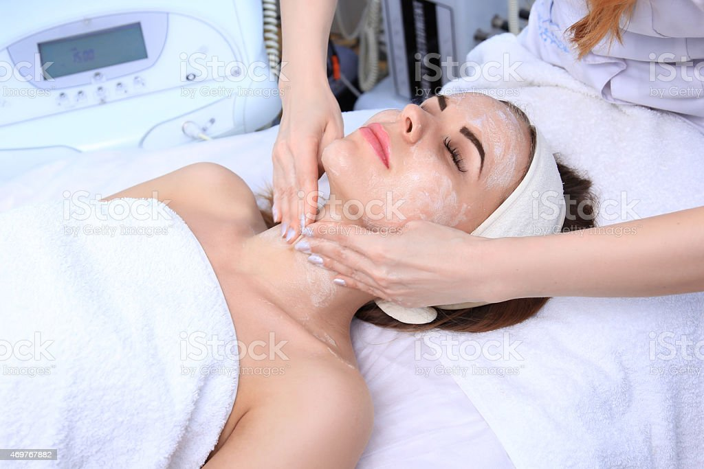 Cleansing peeling at the beauty salon. royalty-free stock photo