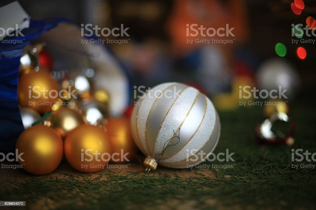Cleanup after Christmas stock photo