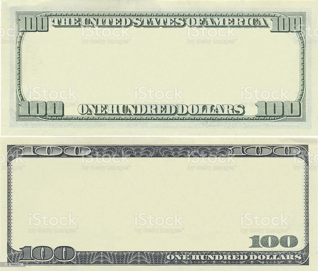 Clear 100 dollar banknote pattern stock photo