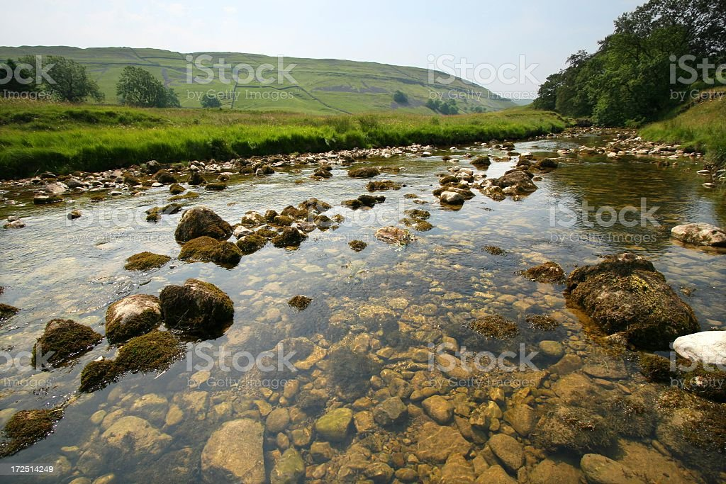 Clear and clean river at Yorkshire royalty-free stock photo