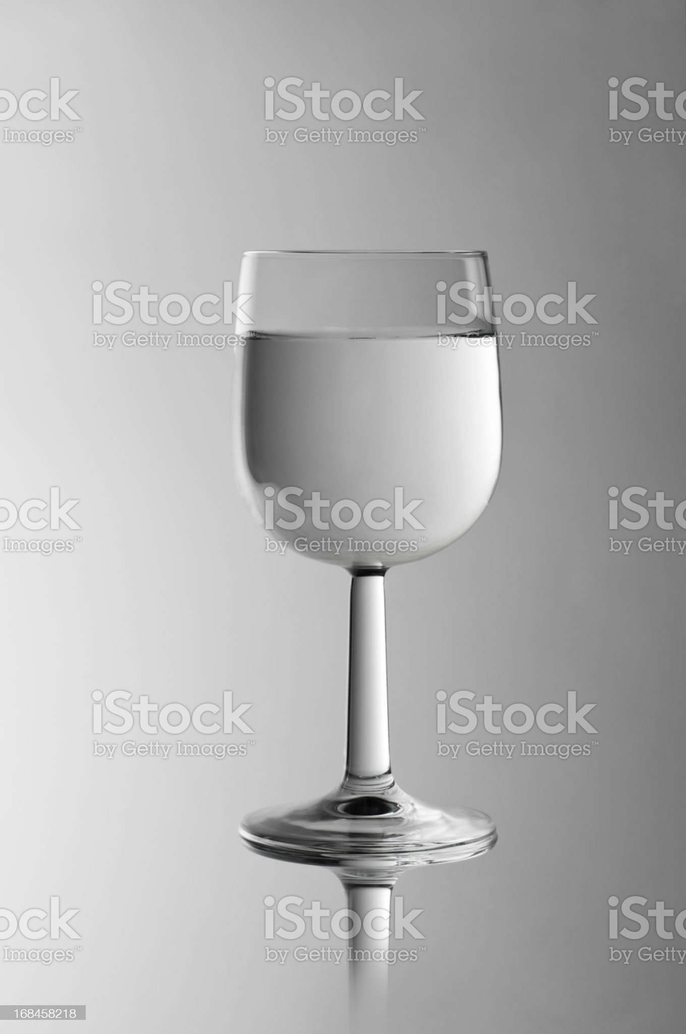 clear and pure glass of water with reflection royalty-free stock photo