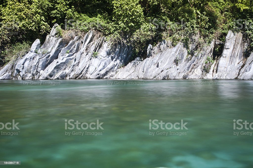 clear and turquoise water at the edge of river Verzasca stock photo
