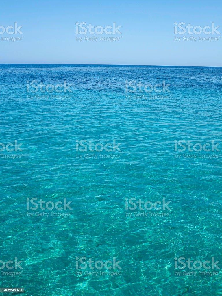 Clear azure sea near Crete coast, Greece stock photo