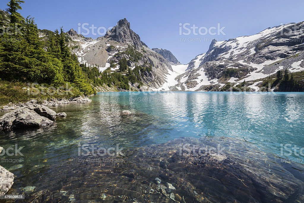Clear azure water of Jade Lake stock photo