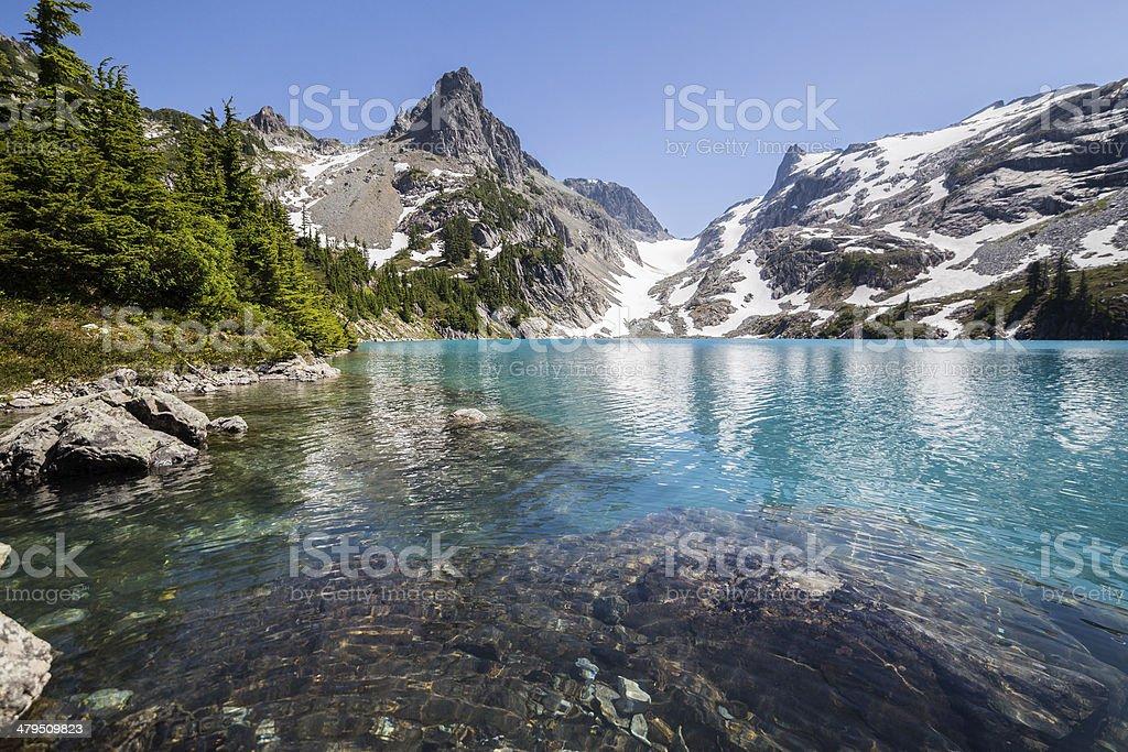 Clear azure water of Jade Lake stock photo