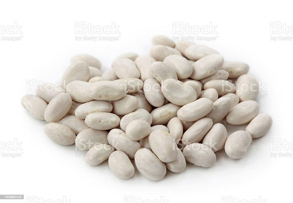 Clear bag of white beans on white background stock photo