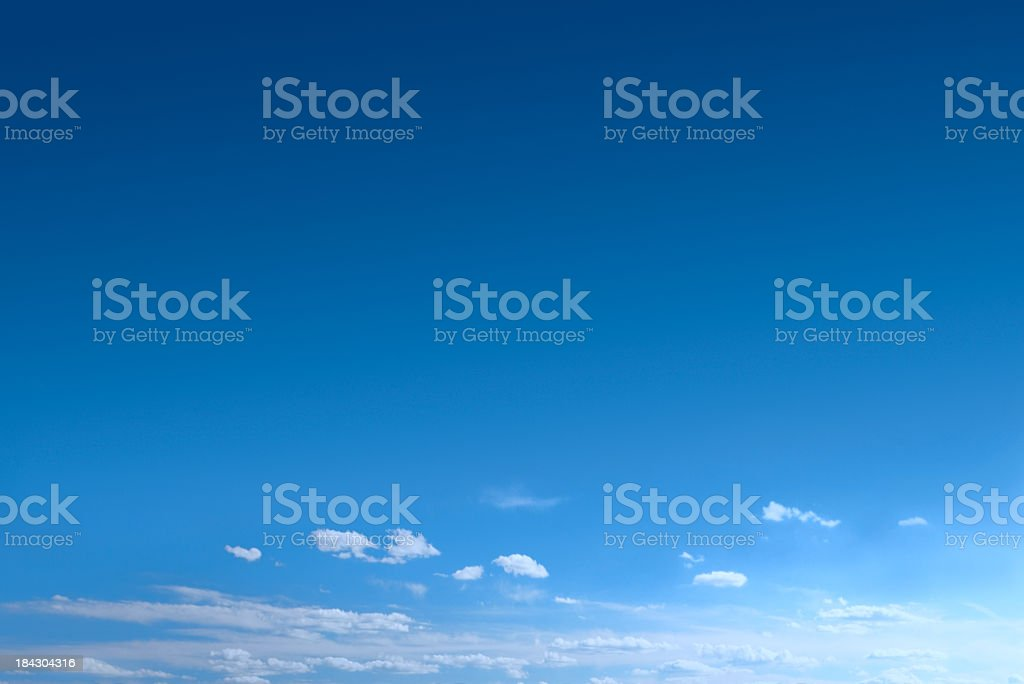 Clear Blue Sky Background With Scattered Clouds stock photo